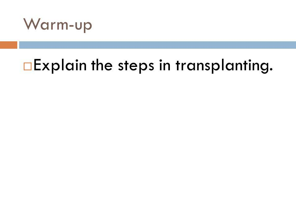Warm-up Explain the steps in transplanting.
