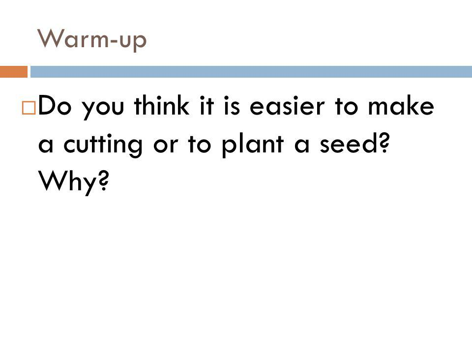 Do you think it is easier to make a cutting or to plant a seed Why