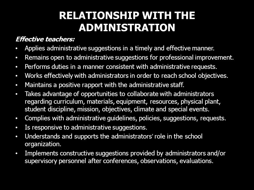 RELATIONSHIP WITH THE ADMINISTRATION