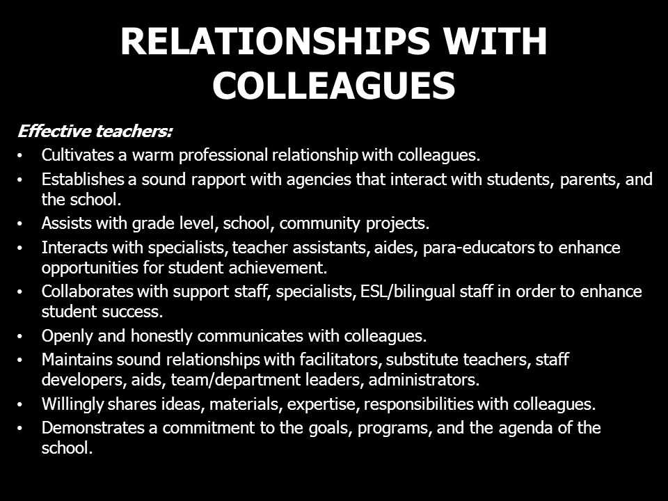 RELATIONSHIPS WITH COLLEAGUES