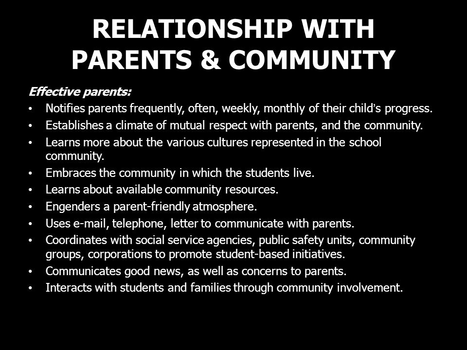 RELATIONSHIP WITH PARENTS & COMMUNITY