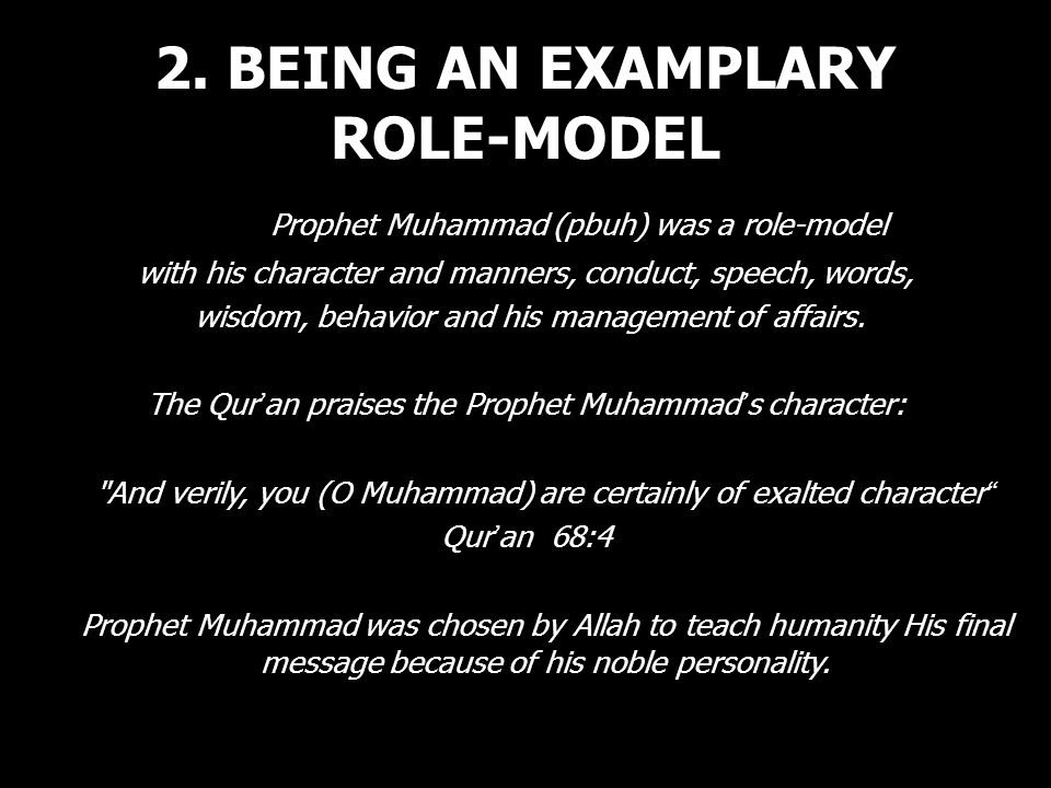 2. BEING AN EXAMPLARY ROLE-MODEL