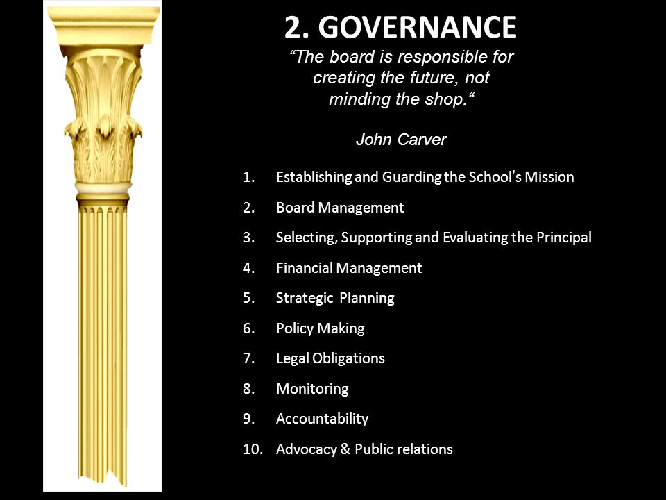 2. GOVERNANCE The board is responsible for creating the future, not