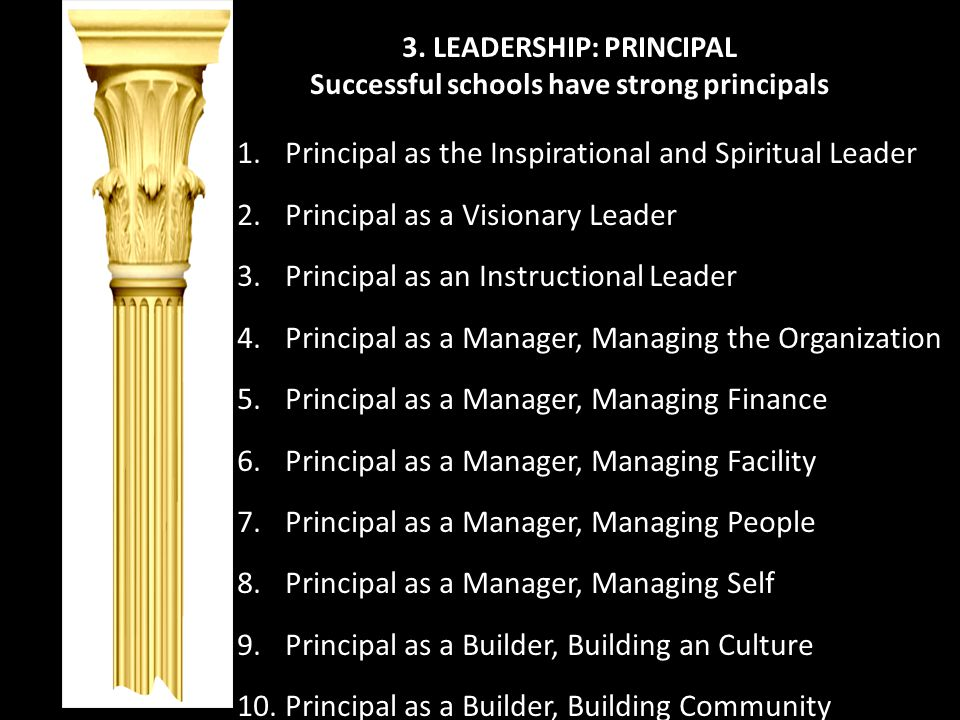 3. LEADERSHIP: PRINCIPAL Successful schools have strong principals