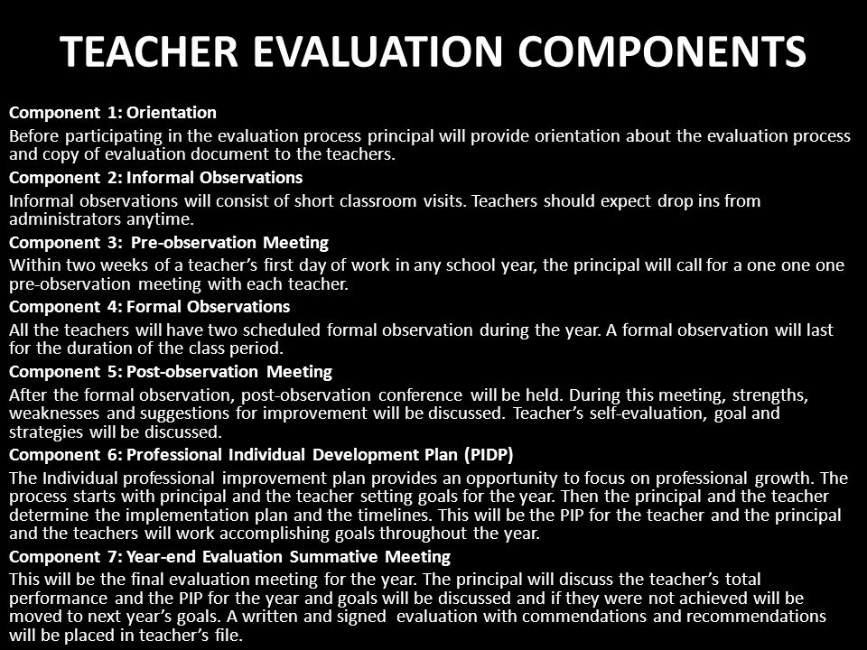 TEACHER EVALUATION COMPONENTS