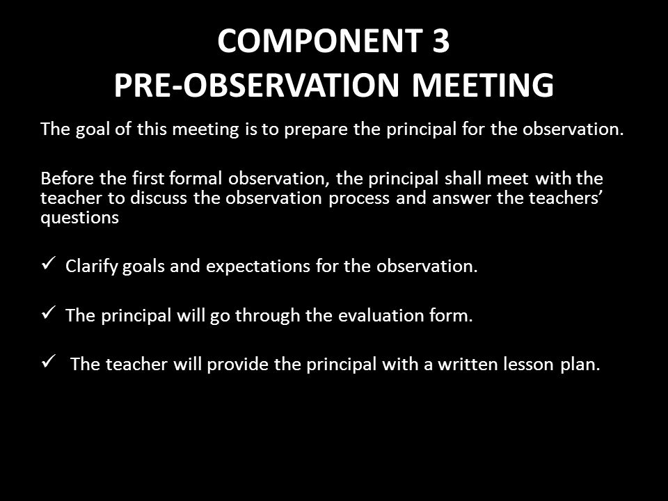 COMPONENT 3 PRE-OBSERVATION MEETING