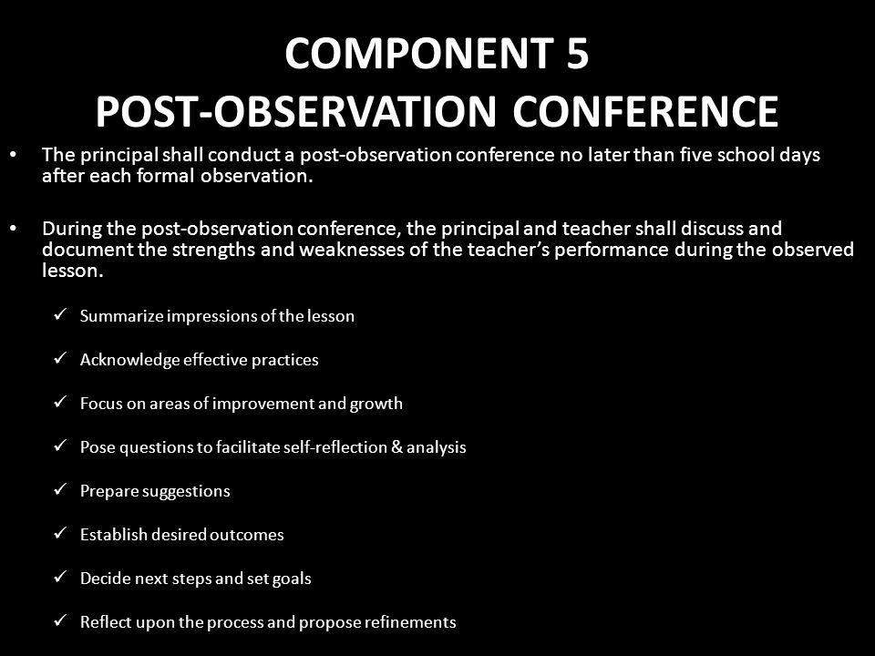 COMPONENT 5 POST-OBSERVATION CONFERENCE