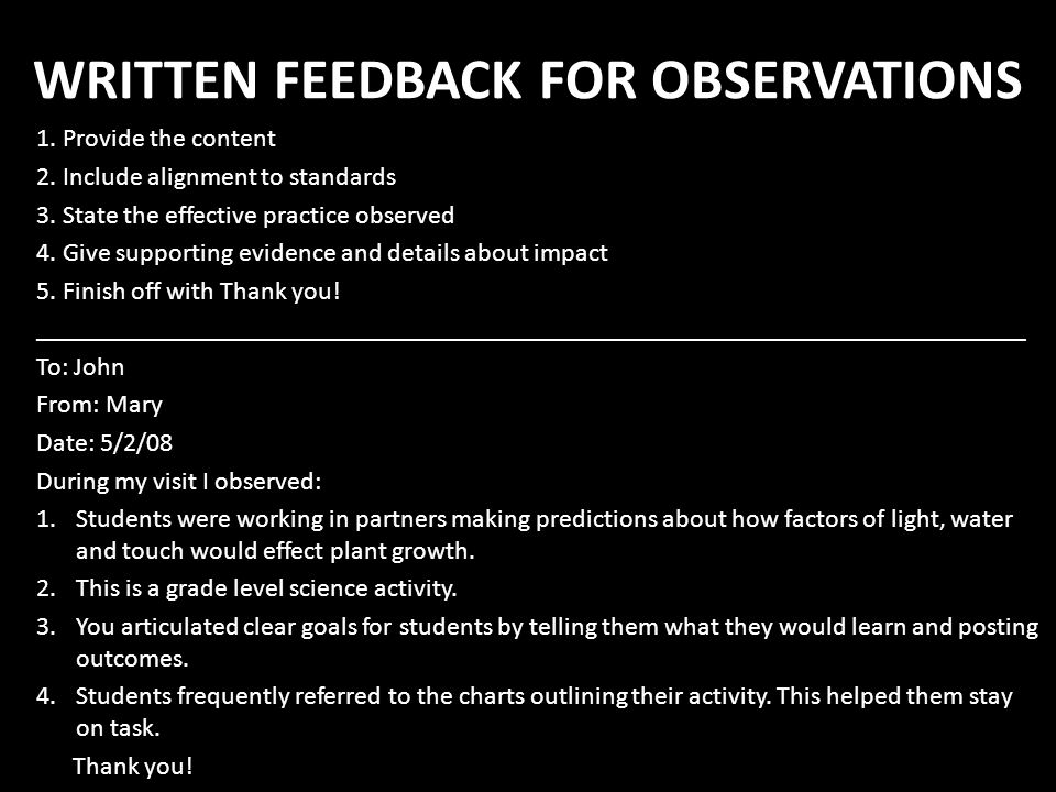 WRITTEN FEEDBACK FOR OBSERVATIONS