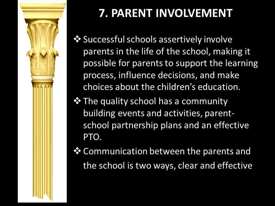 7. PARENT INVOLVEMENT