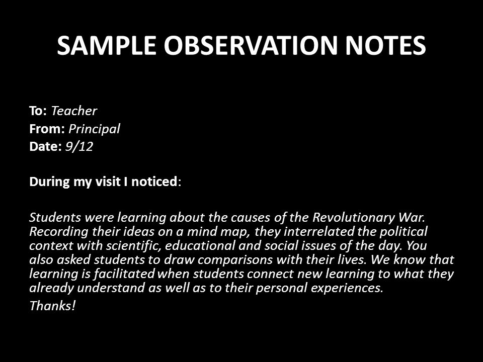 SAMPLE OBSERVATION NOTES