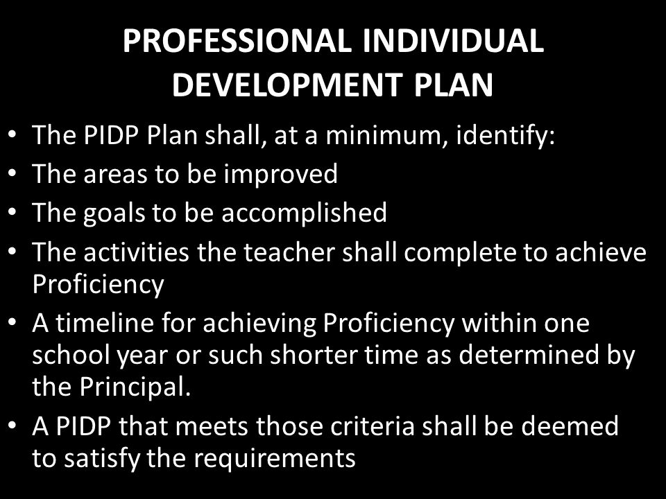 PROFESSIONAL INDIVIDUAL DEVELOPMENT PLAN