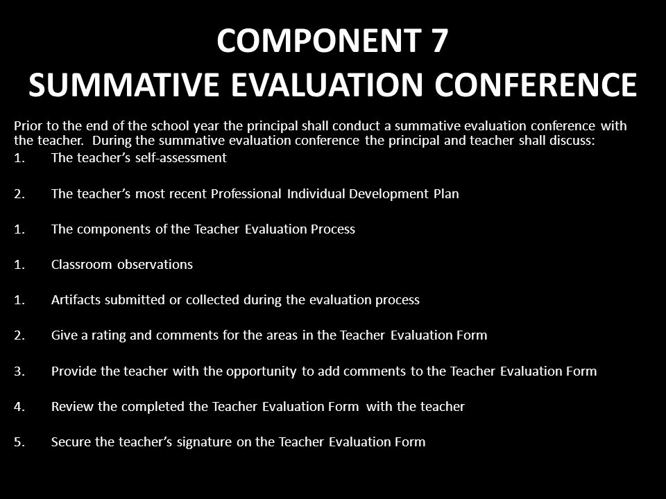 COMPONENT 7 SUMMATIVE EVALUATION CONFERENCE