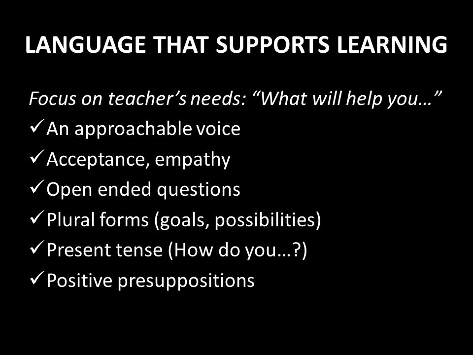 LANGUAGE THAT SUPPORTS LEARNING
