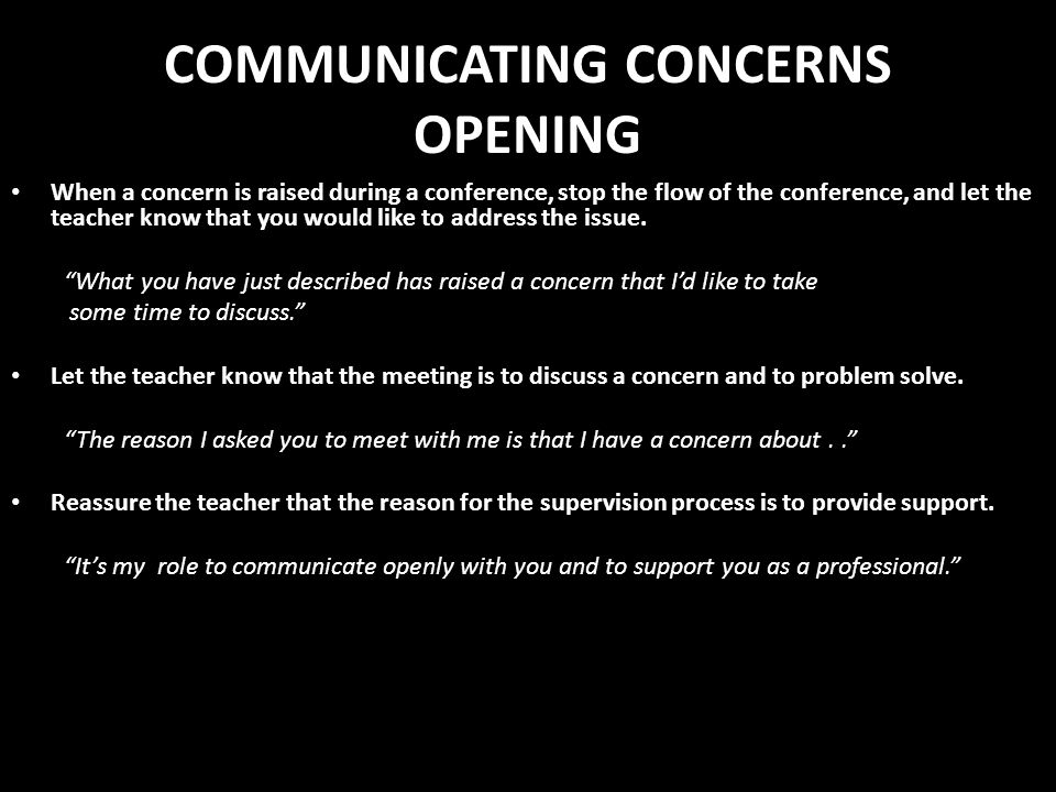 COMMUNICATING CONCERNS OPENING