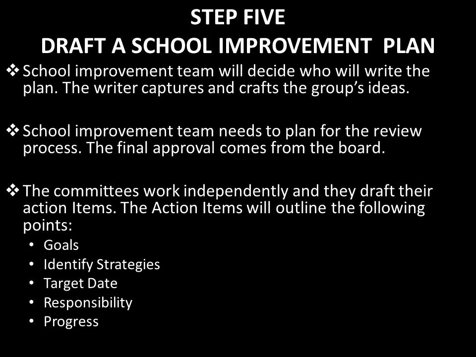 STEP FIVE DRAFT A SCHOOL IMPROVEMENT PLAN