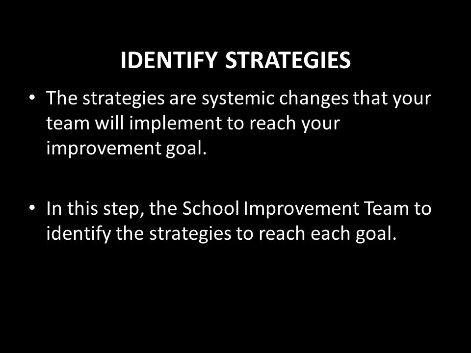 IDENTIFY STRATEGIES The strategies are systemic changes that your team will implement to reach your improvement goal.