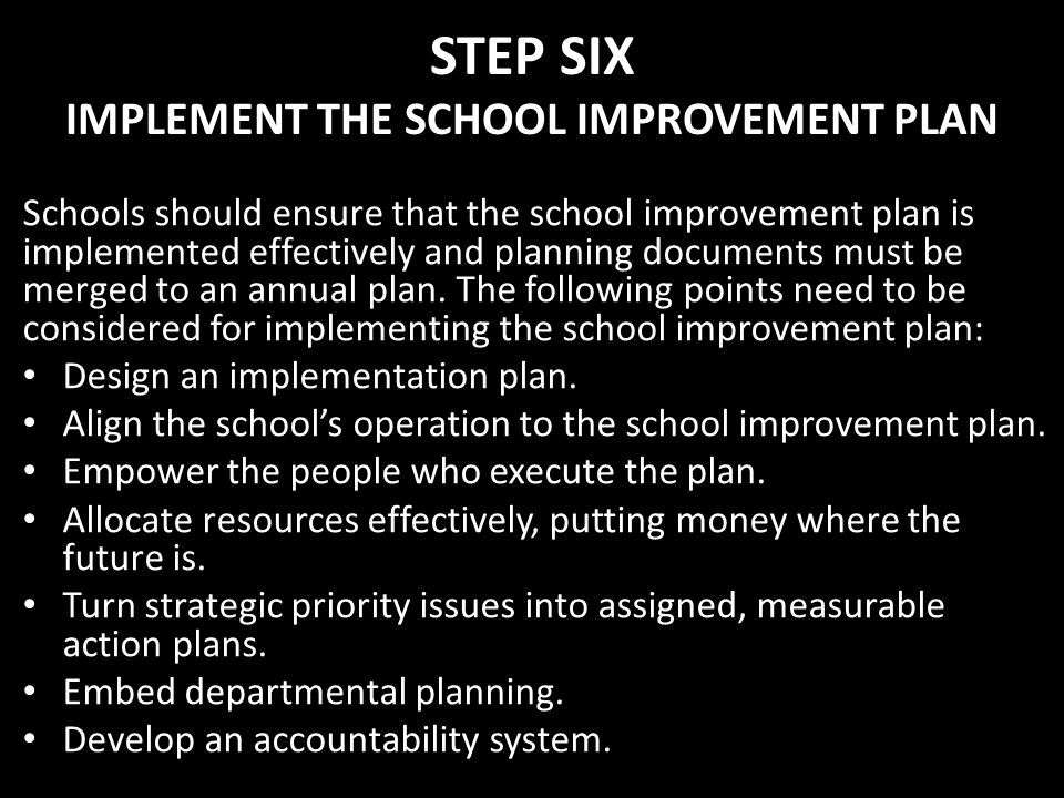 STEP SIX IMPLEMENT THE SCHOOL IMPROVEMENT PLAN