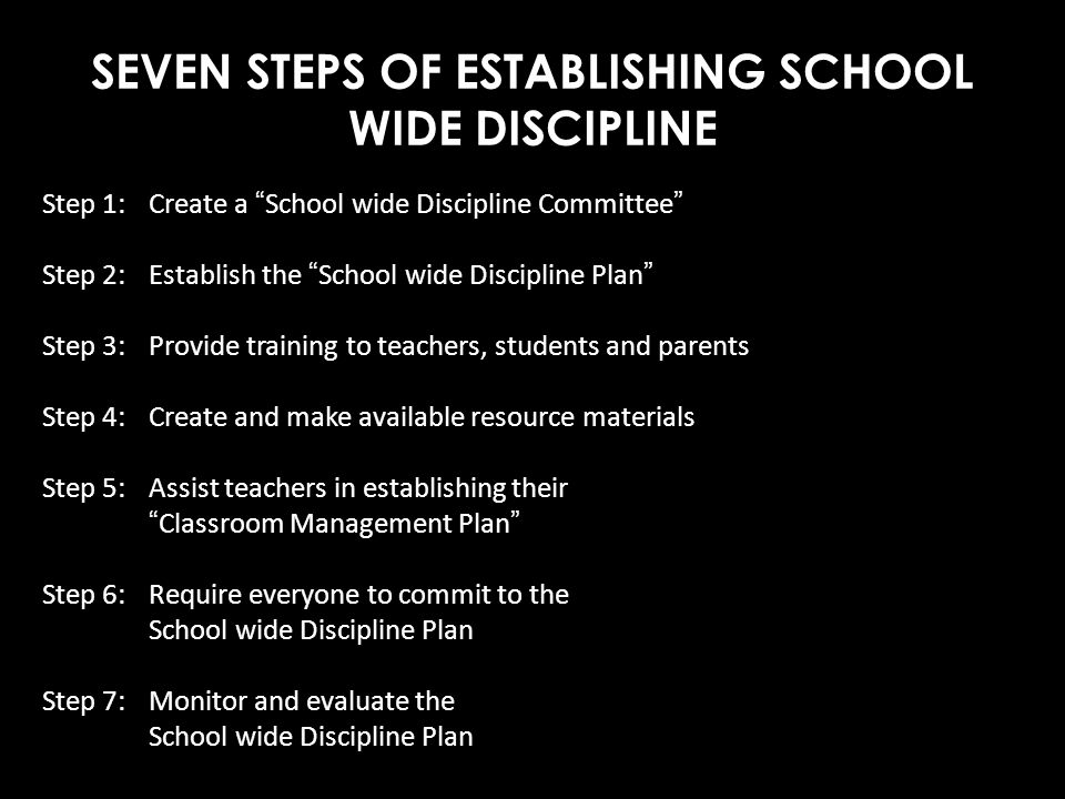 SEVEN STEPS OF ESTABLISHING SCHOOL WIDE DISCIPLINE
