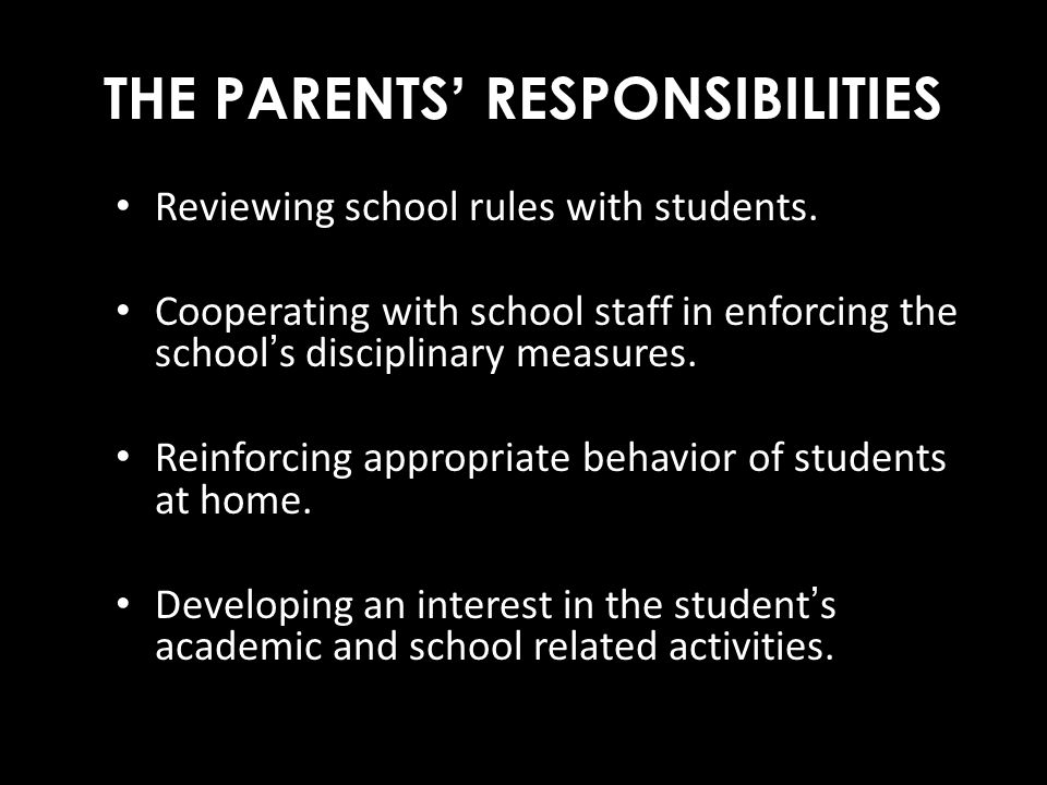 THE PARENTS' RESPONSIBILITIES