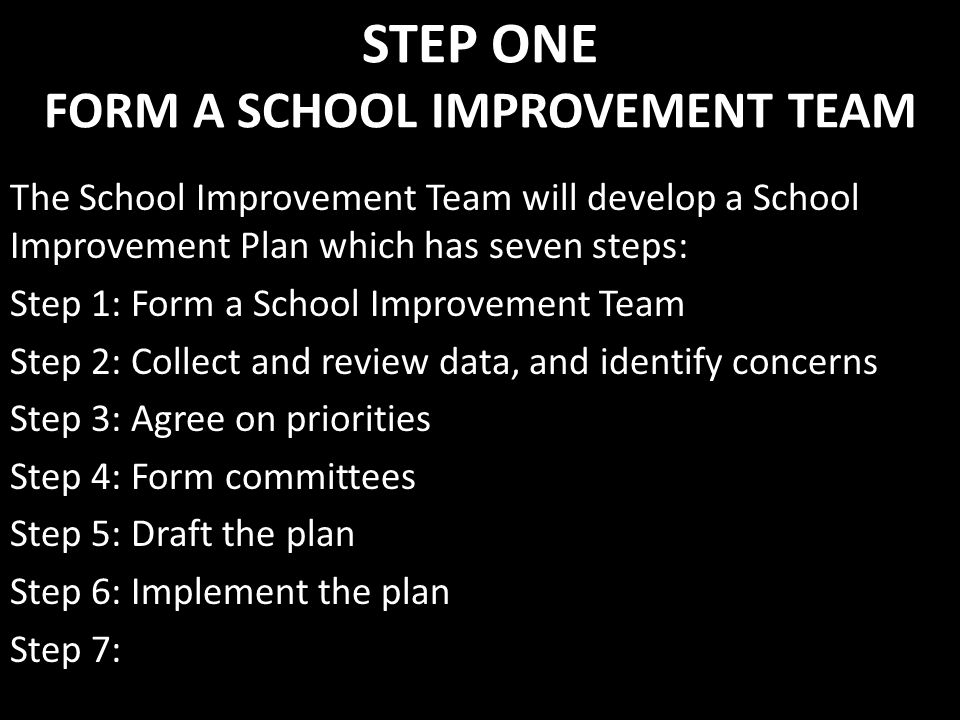 STEP ONE FORM A SCHOOL IMPROVEMENT TEAM
