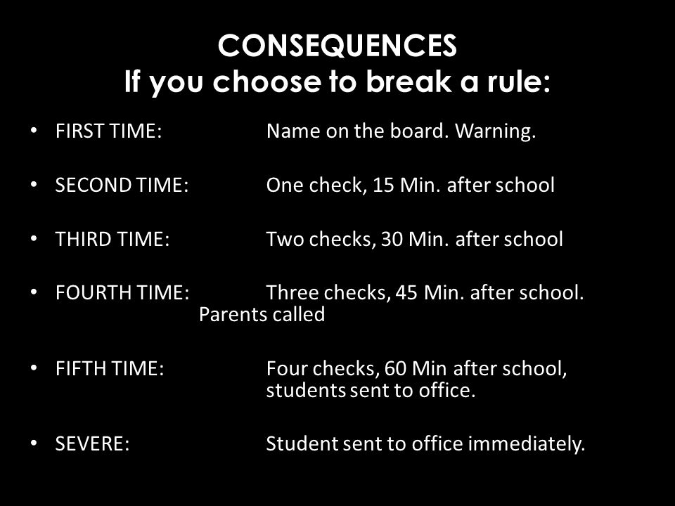 CONSEQUENCES If you choose to break a rule: