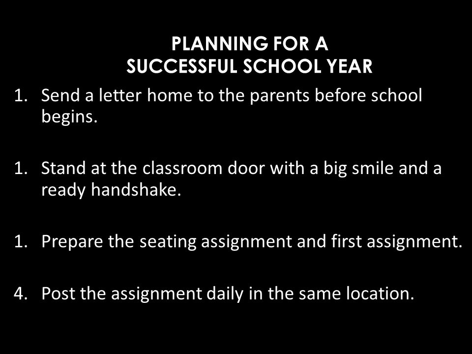 PLANNING FOR A SUCCESSFUL SCHOOL YEAR