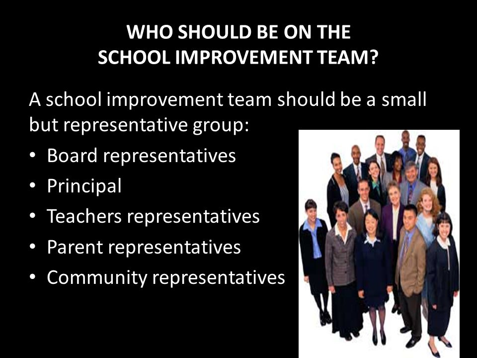 WHO SHOULD BE ON THE SCHOOL IMPROVEMENT TEAM