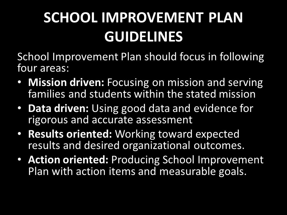 SCHOOL IMPROVEMENT PLAN GUIDELINES