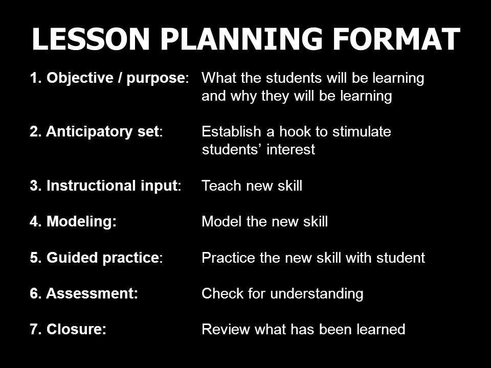 LESSON PLANNING FORMAT