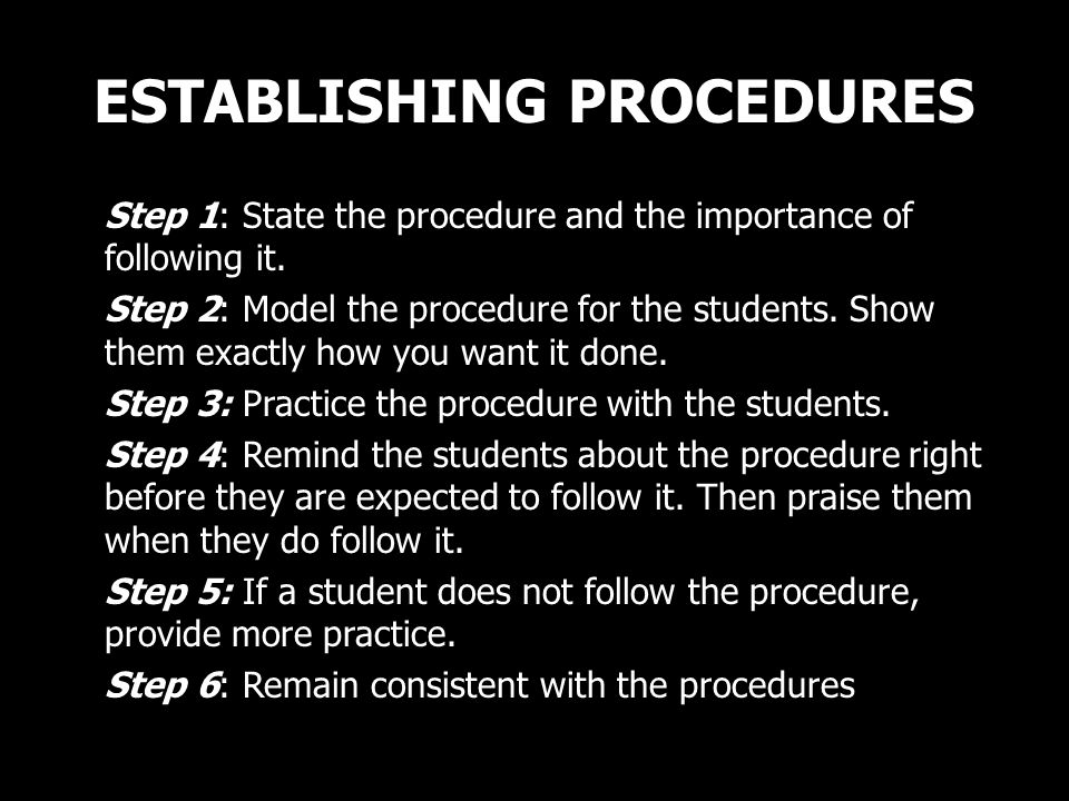 ESTABLISHING PROCEDURES