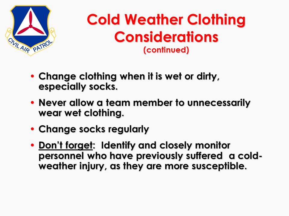 Cold Weather Clothing Considerations