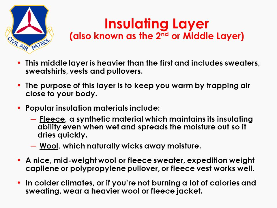Insulating Layer (also known as the 2nd or Middle Layer)
