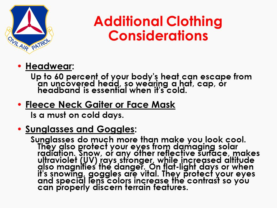 Additional Clothing Considerations