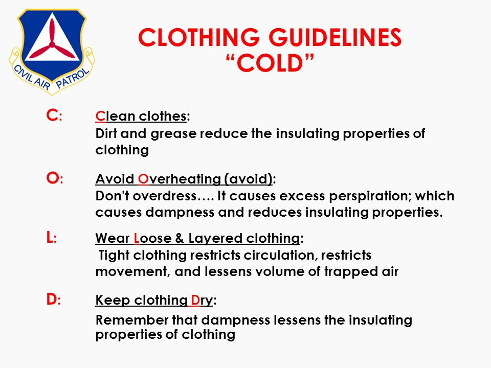 CLOTHING GUIDELINES COLD