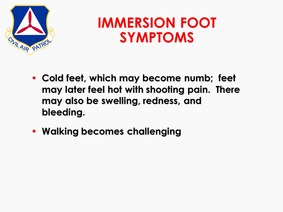 IMMERSION FOOT SYMPTOMS