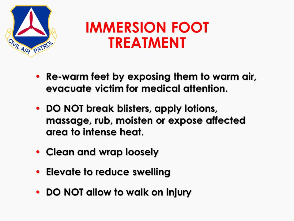 IMMERSION FOOT TREATMENT