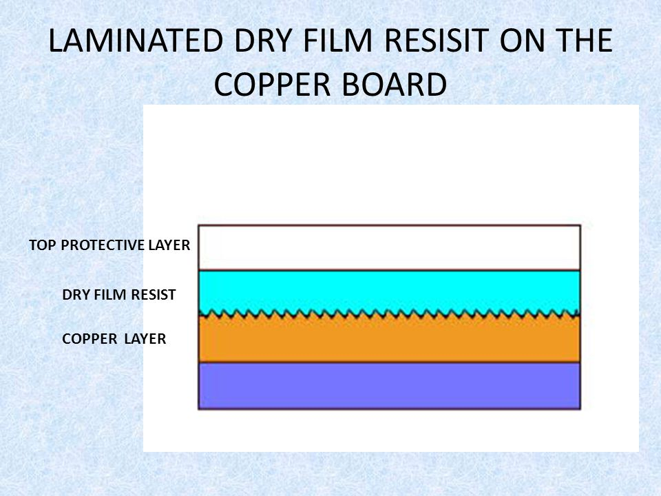 LAMINATED DRY FILM RESISIT ON THE COPPER BOARD
