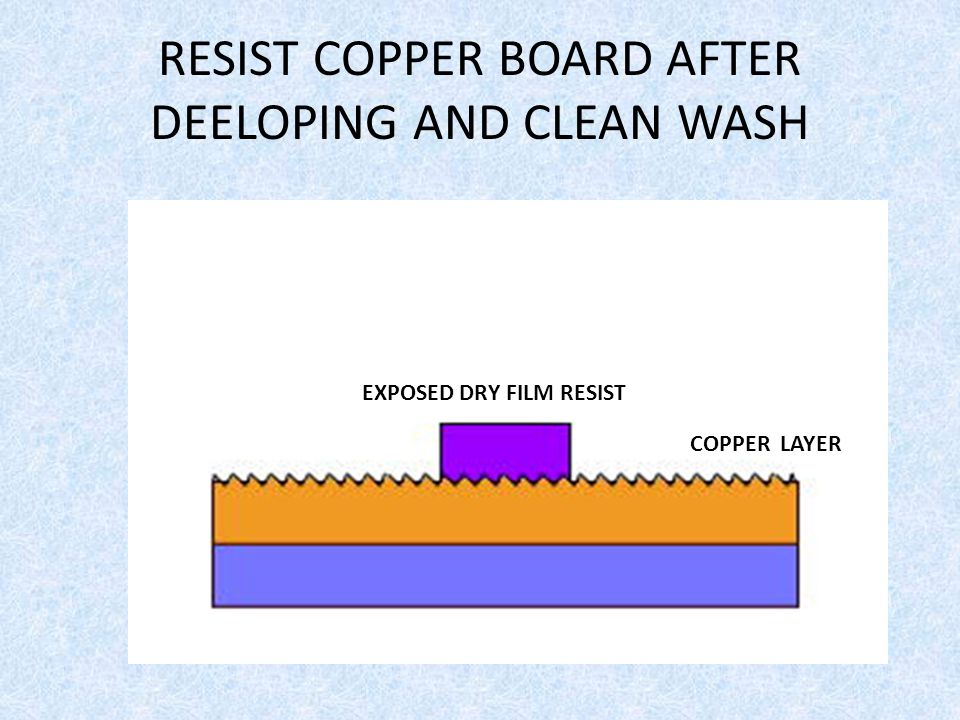RESIST COPPER BOARD AFTER DEELOPING AND CLEAN WASH