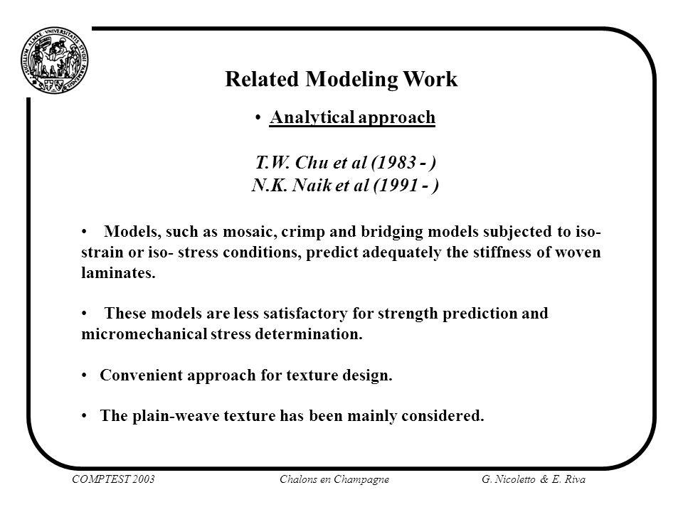 Related Modeling Work Analytical approach T.W. Chu et al (1983 - )