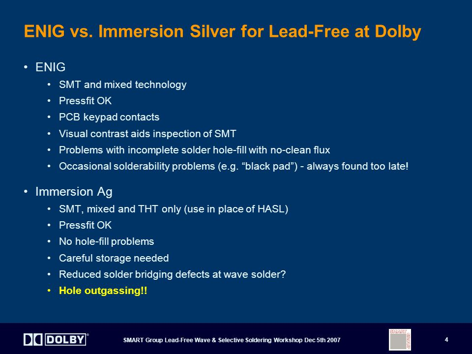 ENIG vs. Immersion Silver for Lead-Free at Dolby