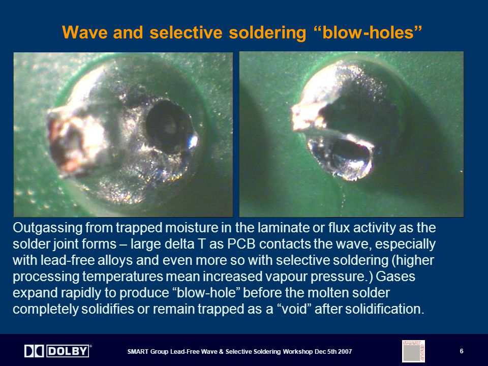 Wave and selective soldering blow-holes