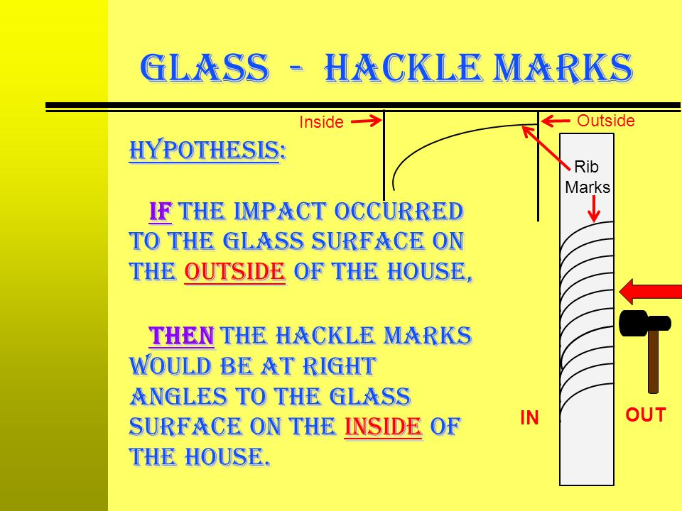 GLASS - Hackle Marks Inside. Outside. hypothesis: If the impact occurred to the glass surface on the outside of the house,