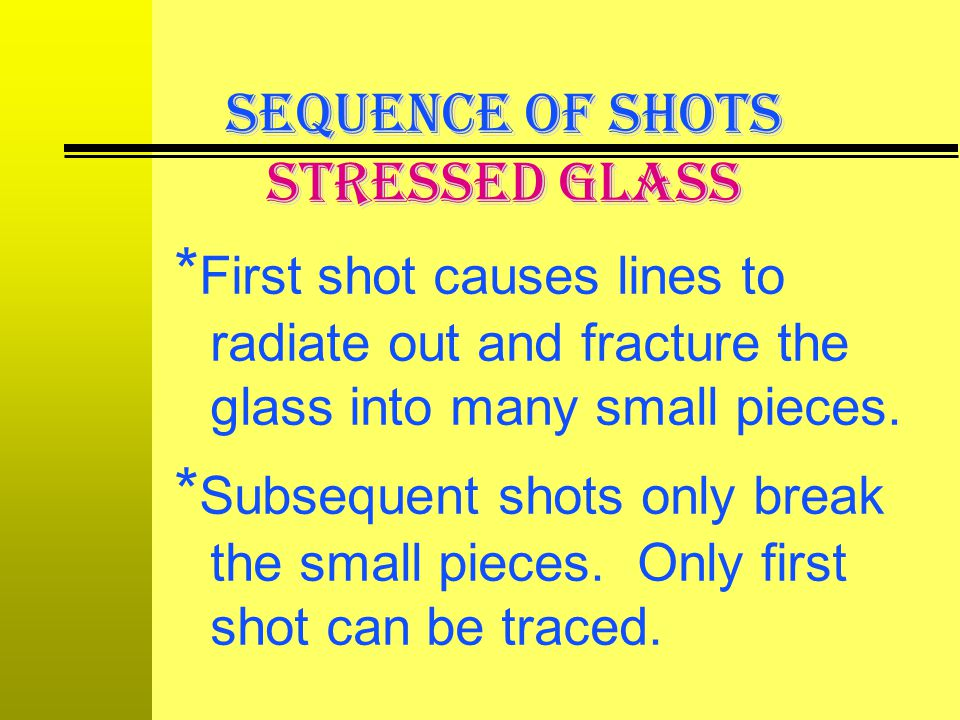 SEQUENCE OF SHOTS Stressed Glass