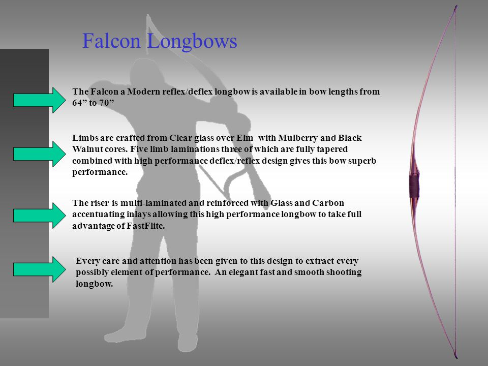 Falcon Longbows The Falcon a Modern reflex/deflex longbow is available in bow lengths from 64 to 70