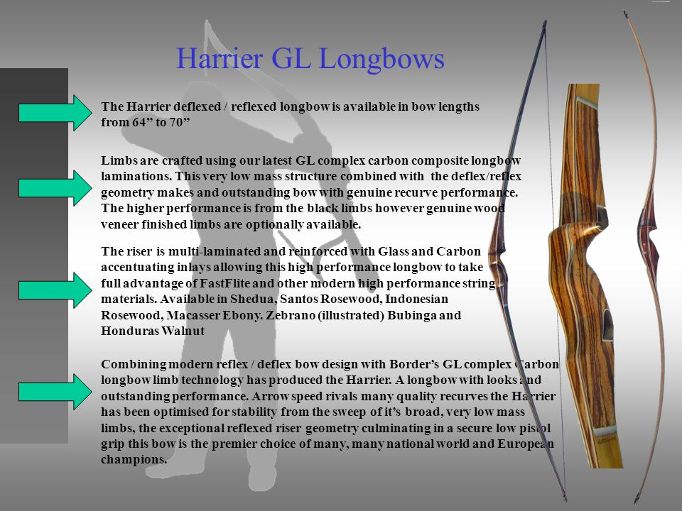Harrier GL Longbows The Harrier deflexed / reflexed longbow is available in bow lengths from 64 to 70