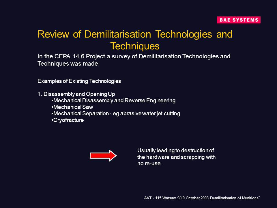 Review of Demilitarisation Technologies and Techniques
