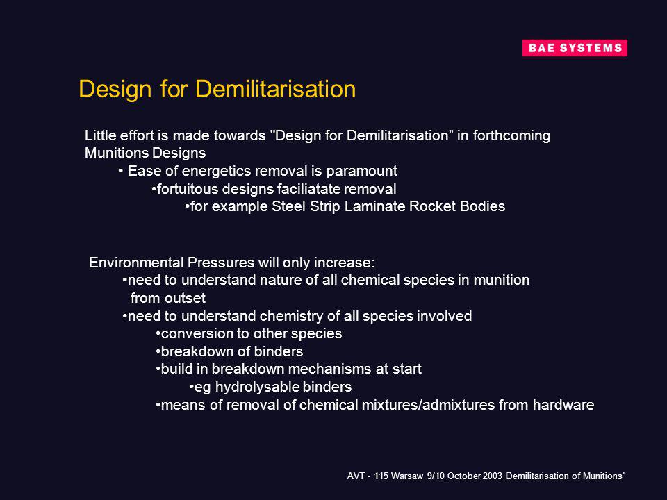 Design for Demilitarisation
