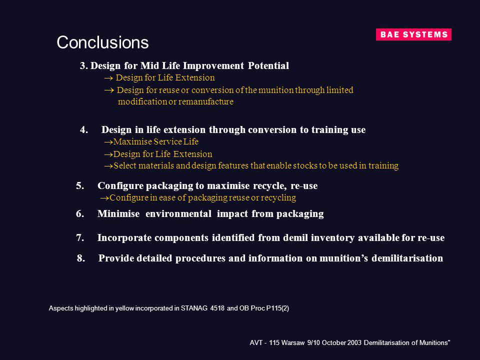 Conclusions 3. Design for Mid Life Improvement Potential