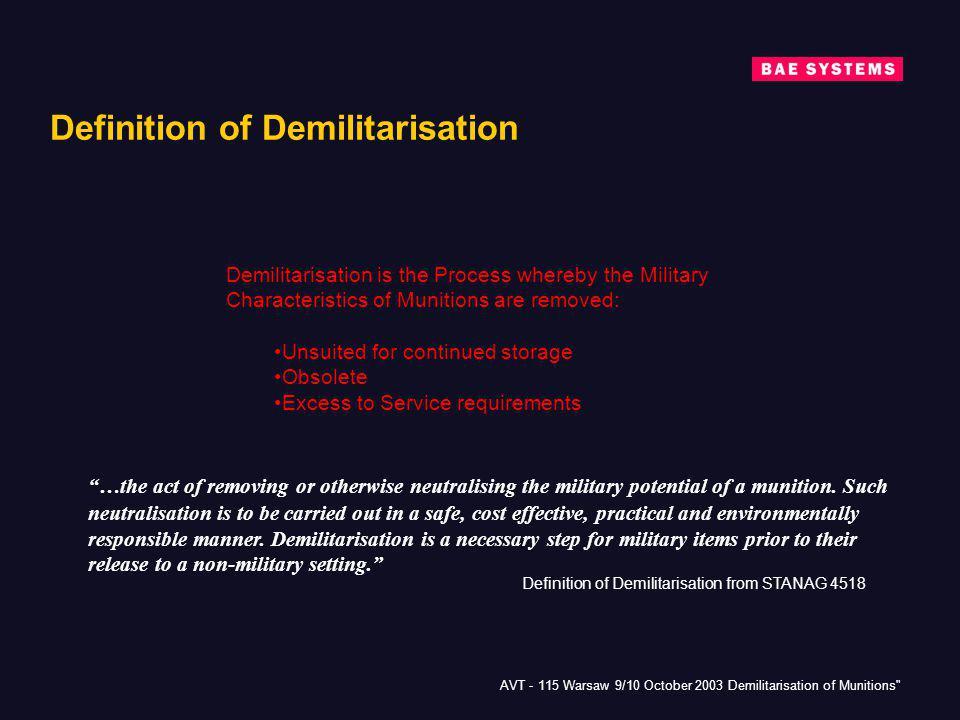 Definition of Demilitarisation