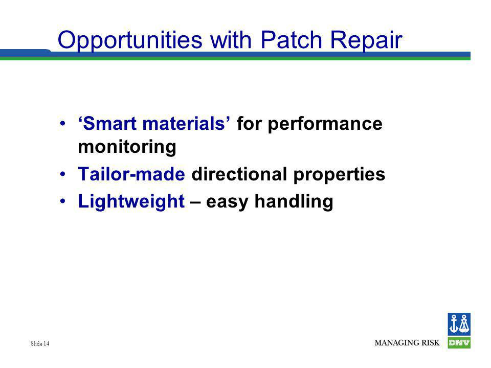 Opportunities with Patch Repair